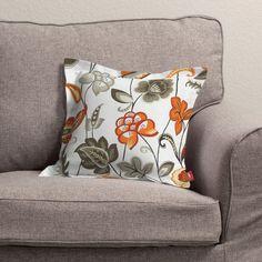 #kwiaty #flowers #home #inspiration #dom #dekoracje #poszewki #tkaniny  Poszewka Mona na poduszkę, orientalne kwiaty w tonacji pomarańczowo-brązowej na białym tle, 38x38 cm - Dekoria