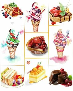 ice cream sandwich food cake waffle crepe pie fruit dessert Dessert Illustration, Illustration Art, Food Sketch, Chibi Food, Fake Food, Cool Art Projects, Food Illustrations, Food Art, Decoupage