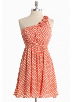 Poka dot one shoulder poka dot dress stylish for spring or summer.