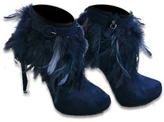 Feather Boot Navy Suede