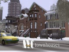 NYC Townhouses by fredbrenny (The Sims The house is residential, but can be made into apartment buildings if you prefer. It has many many rooms, and I decorated some of them so you could move in. Nyc Brownstone, Townhouse, Sims 3 Apartment, Sims 4 Houses, Sims Mods, The Sims4, Cool Pictures, House Plans, House Design