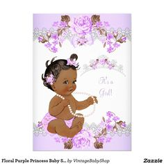 Floral Purple Princess Baby Shower Ethnic Girl 5x7 Paper Invitation Card