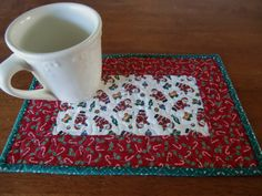 Christmas Fabric Mug Rug Snack Mat Quilted by KoloaQuiltsandMore