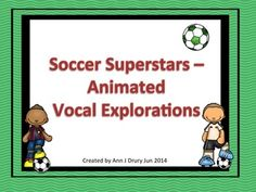 A set of soccer themed animated vocal explorations ideal for the Kodaly or Orff Music classroom.  This vocal activity is to help your younger students work on using their voice to sing high and low and could also be used with older students as a warm-up activity. Three sets of 10 slides are included - set one is animated with the vocal path shown, set two is animated but without the vocal path shown and the third set of 10 has been left blank so that your students can compose their own.
