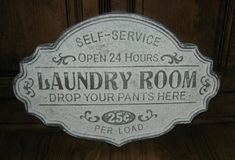 New Primitive French Country Shabby LAUNDRY WORDS Burlap Picture  Sign