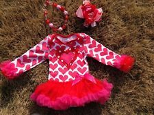 baby toddler girls heart tutu onesie outfit dress love set valentines 4-6M