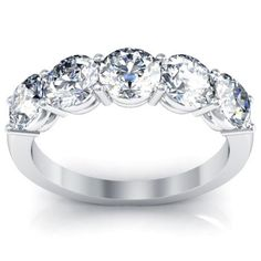 GIA Certified Engagement Diamond Five Stone Rings With Round Cut Diamonds in 14K
