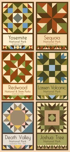 California Parks We currently have 75+ National Park state monument quilt blocks for sale. Choose the parks you want, singles or bundles. Free shipping over $100!