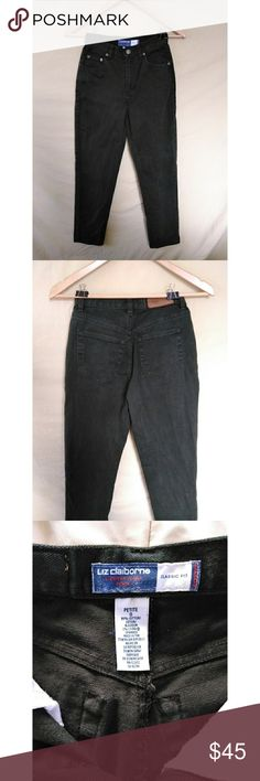 """Vintage High Waist Mom Jeans Amazing slim fit jean with a tapered leg. They are actually in an olive color but my phone sucks -sorry!  I will post better pics soon.. They are by Liz Claiborne in a size 0 petite which is so hard to find! I would totally keep them for myself but they're too small in the waist for me.  I usually wear a 24-25.  MEASUREMENTS LYING FLAT  waist 11.5-12""""  hip 16.5"""" rise 9.5 Inseam 26.5""""  leg opening width 6"""" 98% cotton 2% spandex Liz Claiborne Jeans Straight Leg"""