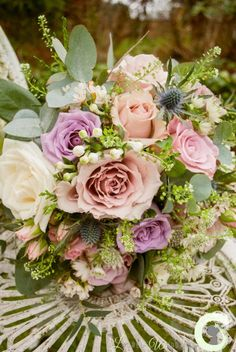 Textured bouquet in ivory, dusky pink and lilac