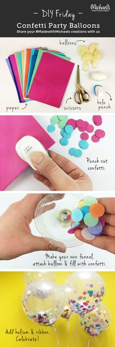 Lever Punch by Recollections™ Add a pop of color to any party with these Confetti Balloons! Make in just a few easy steps!Add a pop of color to any party with these Confetti Balloons! Make in just a few easy steps! Unicorn Birthday, Unicorn Party, 21st Birthday, Birthday Parties, Birthday Ideas, Birthday Balloons, Themed Parties, Birthday Celebration, Unicorn Cakes