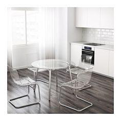 IKEA - SALMI, Mesa, El tablero es de vidrio templado, un material fácil de limpiar y más resistente que el vidrio normal.