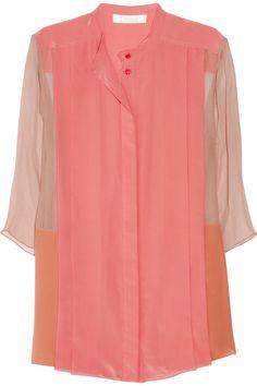 Chloé|Color-block silk-crepe and georgette blouse|NET-A-PORTER.COM