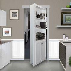 """Murphy Door 32"""" Flush-Mount Hidden-Door Book Case, White"""