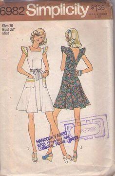 MOMSPatterns Vintage Sewing Patterns - Simplicity 6982 Vintage 70's Sewing Pattern KILLER Boho Flutter Sleeve Pinafore Look Wrap Around Summer Sundress Sun Dress Size 16