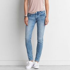 AEO Skinny Jeans featuring polyvore, women's fashion, clothing, jeans, blue heaven, super skinny jeans, american eagle outfitters skinny jeans, stretch blue jeans, denim skinny jeans and stretchy jeans