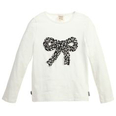 Girls Ivory Cotton Top with Bow, Jottum, Girl