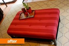 Before & After: IKEA Lack Coffee Table to Upholstered Ottoman Ikea Hackers   Apartment Therapy