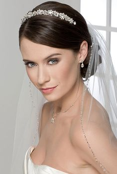 Like, but not the tiara. Rhinestone tiara paired with fingertip veil with beaded accents. (Tiara, style and veil, style both Bel Aire Bridal) Wedding Tiara Veil, Romantic Wedding Hair, Short Wedding Hair, Wedding Hair Down, Wedding Hair And Makeup, Wedding Updo, Wedding Tiaras, Bridal Tiara, Veil Hairstyles