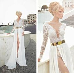 Cheap Prom Dress - Discount V Neck Long Sleeve Chiffon Beaded Summer Beach Online with