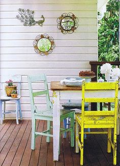 love the different colors and chippy paint. i would do this table & chairs in my kitchen.