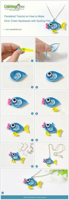 Pandahall Tutorial on How to Make Girls' Chain Necklaces with Quilling Fish: