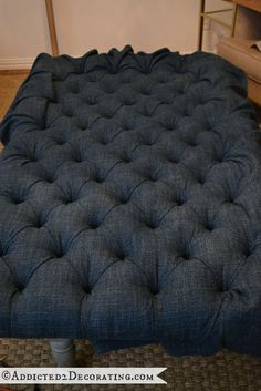diamond tufted upholstered ottoman - 24. How-to with screws and washers while staying on the front side of the piece.