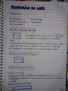 Refração da Luz - Resuminho 📝 Study Hard, Kawaii, Wallpapers, Education, School, Books, Study Methods, Study Tips, Study Skills