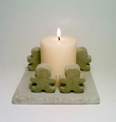 Concrete Candle Holder, Tea Light Candle Holder, Candle Holder,  Gingerbread Men, Campfire. $20.00, via Etsy.