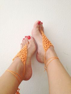 Orange Barefoot Sandals Nude shoes Foot jewelry by ArtofAccessory, $15.00