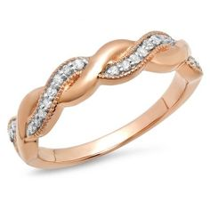 0.15 Carat (ctw) 14K Rose Gold Round Cut Diamond Ladies Bridal Anniversary Wedding Band Stackable Swirl Ring. An outstanding collection of Diamond Jewelry at great prices from Dazzling Rock.;$328.90