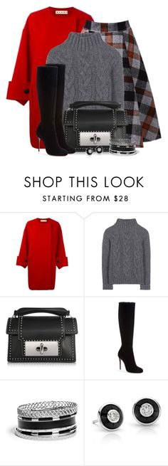 """""""Plaid Skirt & Wool Sweater"""" by brendariley-1 ❤ liked on Polyvore featuring Marni, Ganni, Marc Jacobs, Christian Louboutin and GUESS"""
