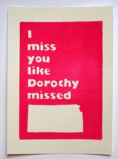 I Miss You Linocut Print, Wizard of Oz Print, Kansas Linocut, Dorothy Print Humor, I Love You Hot Pink Magenta White Midwest. $14.00, via Etsy.