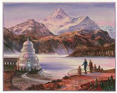 This is the Mausoleum at the mist lake of Hali, from Marion Zimmer Bradley's DARKOVER books. Original is watercolor on illustration board, x The Mausoleum at Hali Book Cover Art, Book Art, Book Covers, Red Sun, Book Nooks, Mountain View, Vintage Books, Mists, Fantasy Art