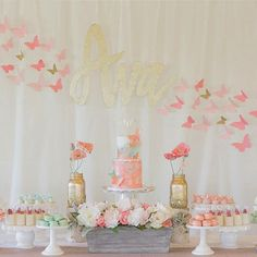 Come fly with me! Coral, peach, mint and gold butterfly birthday for Ava! Crafty @elizbot cut out her name using styrofoam board and spray painted it gold. She's so resourceful! Details and design by @janeahn72