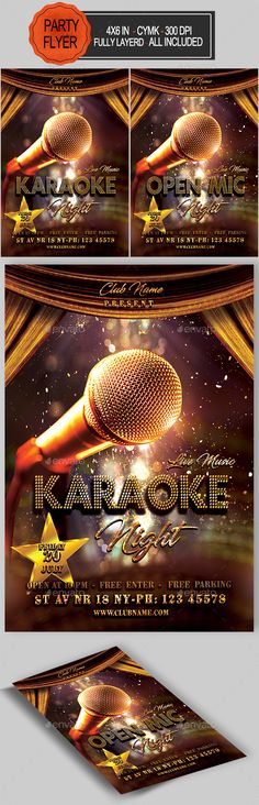Buy Karaoke Flyer by seasonOFTHEflowers on GraphicRiver. with bleed, CMYK, 300 DPI Files included: 1 PSD Editable File , Help File. editable All included Fonts U. Karaoke, Music Sketch, Club Parties, Graphic Design Trends, Party Flyer, Photo Manipulation, Flyer Template, Flyers, Celebration