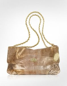 Elie Tahari Emory Gold Leather HandBag