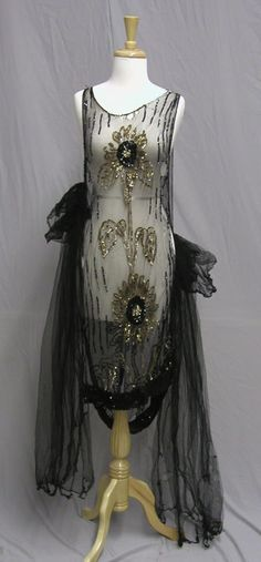 Black Netted 1920's Gown. Phenomenal 1920's Deco Platter Sequined Tunic Over Dress, created to wear over a simple 1920's slip. (hva)