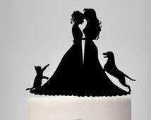 Lesbian wedding cake topper, same sex cake topper, mrs and mrs wedding cake topper with cat and dog, lesbian silhouette, bride and bride