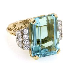 #BirksGlamCannes - Rectangular Aquamarine and Diamond Ring, in 18kt Yellow gold.  Blue for the sparkling Cote D'Azur, Gold for the Palme D'Or.
