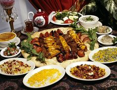 Iranian Food. Wow. Just look at tose kebabs. And the rice.