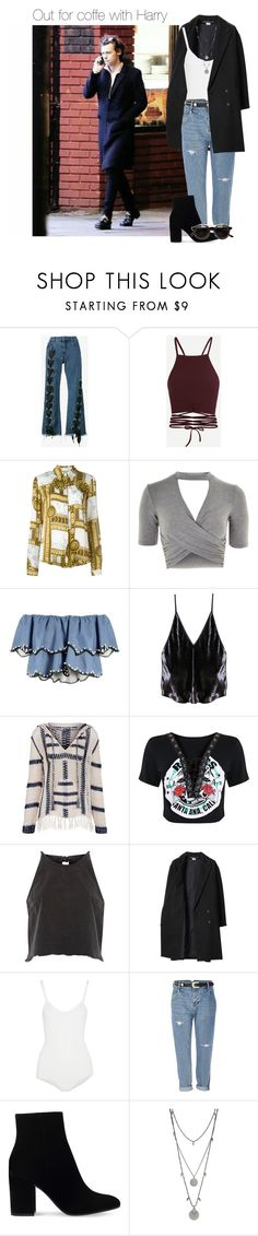 """""""Out for coffee with Harry"""" by werehazza ❤ liked on Polyvore featuring Marques'Almeida, Versace, Topshop, HUISHAN ZHANG, Fleur du Mal, Anna Kosturova, River Island, Les Prairies de Paris, Body Editions and Gianvito Rossi"""