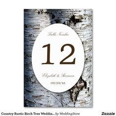 Country Rustic Birch Tree Wedding Table Number Card