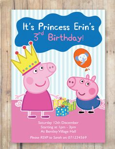Peppa Pig Party Invitation by FlurgDesigns on Etsy, £5.00