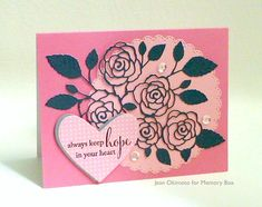 Hearts and roses aren't just for Valentine's Day - they're universal symbols of caring - and make a great pair on a thoughtful card for someone special. Jean Okimoto here with another quick Spring Release card for you today. Memory Box Products NEW Hope in Your Heart Stamp B2058 NEW English Rose Bouquet Die 99139 NEW Stitched Scallopped Circles Die Set 30047 Bubblegum Distressed Dots Sugar Plum, Cherry Blossom, Dove Gray and Graphite Notecards Sugar Plum Envelope Memento Luxe Pigment Inkpad…