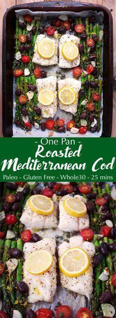 Mediterranean Diet Plan One Pan Roasted Mediterranean Cod (gluten-free, paleo) Cod Recipes, Seafood Recipes, Paleo Recipes, Dinner Recipes, Drink Recipes, Bread Recipes, Easy Recipes, Holiday Recipes, Breakfast Recipes