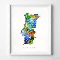Portugal Watercolor Map Wall Art Print - Prices from $9.95. Click Photo for Details - #giftideas #watercolor #map #christmasgifts #wallart #Portugal