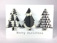 Merry Christmas 3D Black and White Christmas Tree Card