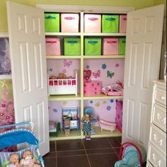 Doll house/storage built into closet - super cute idea for a girls room!