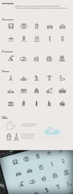 Touristic icon design on Behance. Very original, clean, clear. Icon Design, Web Design, Print Design, Logo Design, Cv Inspiration, Graphic Design Inspiration, Lettering, Typography, Sketch Note